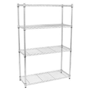 4 5 Tier Storage Rack Organizer Kitchen Shelving Steel Wire Shelves Black chrome