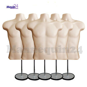 5 Pack Flesh Mannequin Male Torso Dress Forms 5 Table Top Stands 5 Hangers