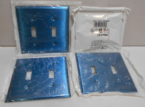 Lot Of 30 Leviton 84009 Stainless Steel 2 gang Toggle Switch Wall Plate Covers