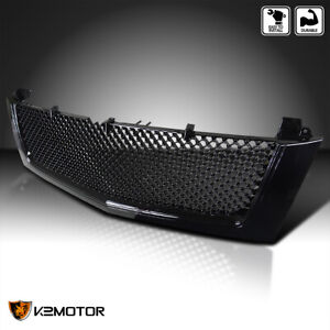 Fits 2002 2006 Cadillac Escalade Polished Black Abs Mesh Front Hood Grill Grille