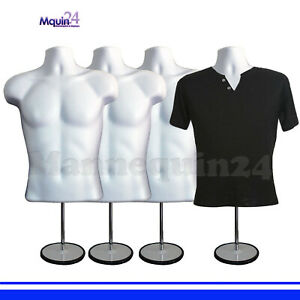 4 White Mannequin Male Torsos W 4 Stands 4 Hangers 4 Men s Dress Forms