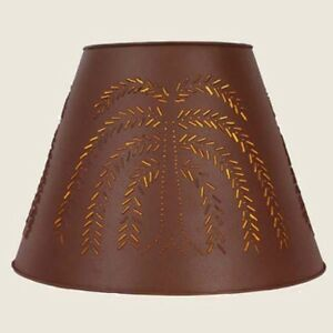 Country New Large 17 Red Tin Punched Willow Lamp Shade Nice