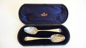Cased Set 18th C Georgian Sterling Silver Berry Spoons C 1785