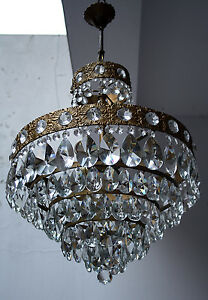 Antique French Basket Style Brass Crystals Large Chandelier From 1950 S
