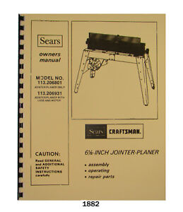 Sears Craftsman 6 Jointer 113 206801 113 206931 Op Parts List Manual 1882