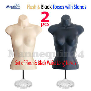 Flesh Black Mannequin Female Torso Dress Forms Set With 2 Stands 2 Hangers