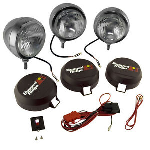 Rugged Ridge 15206 62 5 Inch Round Hid Off Road Fog Light Kit Stainless Steel