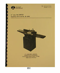 Rockwell 8 Long Bed Jointer Operator Parts Manual 851
