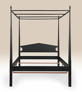 Classic Style King Size Pencil Post Bed Frame With Canopy Bedroom Furniture