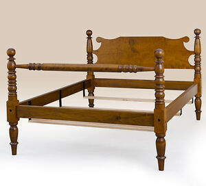 Classic Queen Size Cannonball Bed Frame Tiger Maple Wood Bedroom Furniture
