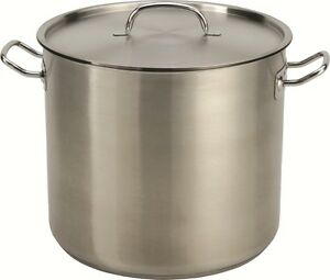 32 35 Qt Quart Heavy Duty Tri ply Thick Base Stainless Steel Stock Pot W lid
