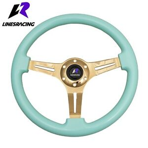 350mm 6 Hole Blue Wood Grain Gold Chrome Steering Wheel horn For Buick