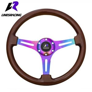 350mm 6 Hole Classic Wood Grain Neo Chrome Steering Wheel horn For Buick
