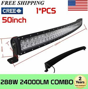 288w 50 In Curved Led Work Light Bar Combo Driving Atv Offroad Boat 240w250w300w