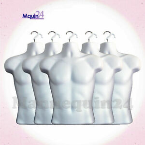 5 White Mannequin Male Torsos lot Of 5 Piece Plastic Men s Hanging Dress Forms