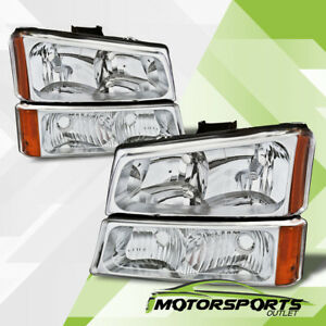 2003 2006 Chevy Silverado 1500 2500 3500 Chrome Headlights Signal Bumper Lamps