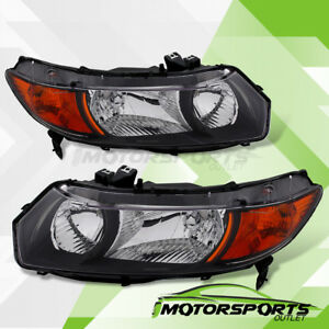 For 2006 2011 Honda Civic Coupe 2dr Black Factory Style Headlights Pair