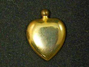 Vintage Art Deco Brass Heart Perfume Bottle 2 5 W Dauber Gorgeous