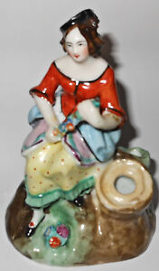 Vintage Staffordshire Hand Painted Lady Figurine Flower Garland Match Holder