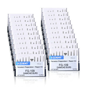20x Dental Diamond Burs Set Porcelain Preparation Repair Kit Fg 109 10pcs kit