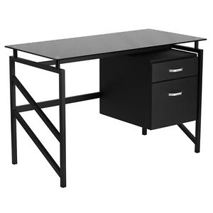 Black Glass Top Office Desk flynn Small Computer Desks