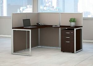 Cubicle Desk With Drawers 60x60 L shaped Work Cubicle For 1