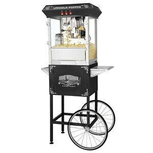 Great Northern Popcorn Black Antique Style Popcorn Popper Machine W cart 8 Oz