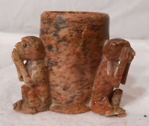 Vintage Carved Soapstone Soap Stone Monkees See Hear Speak No Evil Vase 1 7 8