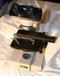 Nikon Sc Microscope With Head Adjustable Stage Base Turret Nice