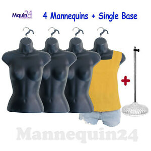 Mannequin Females Lot Of 4 Black Women s Body Forms W 4 Hangers