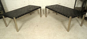 Vintage Chrome Leather Bench 05305 Ns