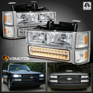 94 98 Chevy C k C10 Tahoe Suburban Silverado Headlights led Bumper corner 6pc