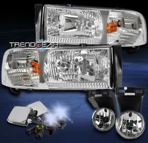 1994 2001 Dodge Ram Chrome Crystal Headlight Lamp W Driving Fog Light 8k Hid Kit
