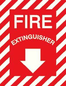 Fire Extinguisher Sign 12 X 9in wht r