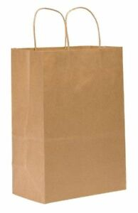 Shopping Bag Flat Bottom Kary Brown Paper Twist Handles Pk250