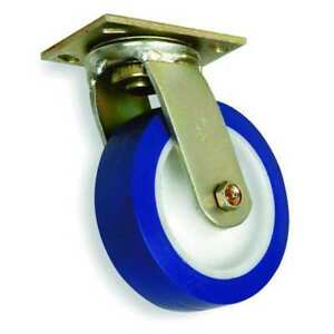 Swivel Plate Caster plyurethane 6 In 900 Lb blu