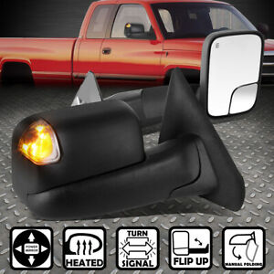 For 02 09 Dodge Ram Power Heated Led Smoked Light Rear View Towing Mirror Pair