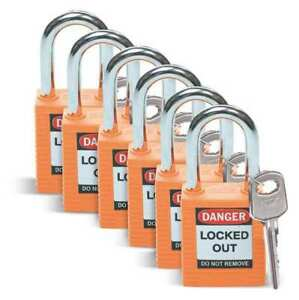 Lockout Padlock kd orange 1 3 4 h pk6 Brady 51347