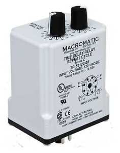 Time Delay Rlay 24vac dc 10a dpdt 3 Sec Macromatic Tr 55128 12