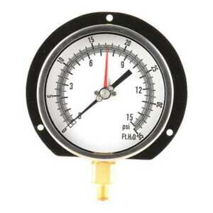 Pressure Gauge 1 4 Npt 0 To 15 Psi 0 To 35 Ft H2o 4 1 2 18c815