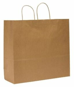 Shopping Bag Flat Bottom downtowner Brown Paper Twist Handles Pk200
