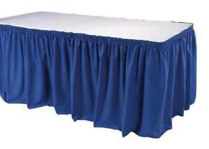 Table Skirting 17 1 2 Ft shirred blue Phoenix Tskt 17 bl