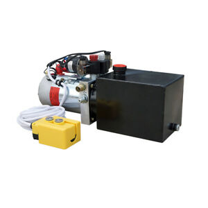 12v 3 Quart Tank Double acting Hydraulic Pump Power Supply Dump Trailer Crane