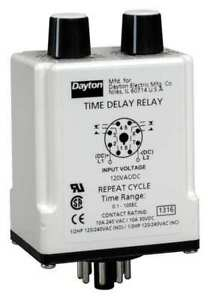 Dayton 1egd3 Relay time Delay dpdt repeat Cycle 8pin