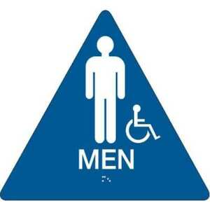 Restroom Sign 10 X 11in white blue Brady 106182