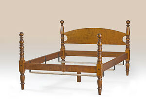 King Size Classic Bed Frame Lodge Furniture Tiger Maple Wood Bedroom Handcrafted