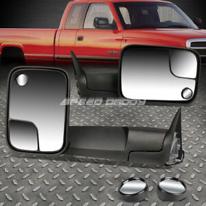 For Dodge 94 97 Ram Truck Power Black Foldable Towing Circle Blind Spot Mirror