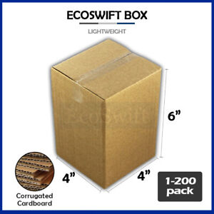 1 200 4x4x6 ecoswift Cardboard Packing Mailing Shipping Corrugated Box Cartons