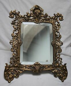 Beautiful Ornate Vintage Cast Dresser Mirror On Stand Detailed Art Deco