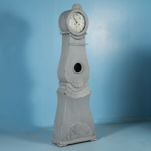 Antique 19th Century Blue Gray Painted Swedish Gustavian Mora Grandfather Clock